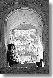 architectural ruins, archways, black and white, europe, lori, tourists, turkeys, under, vertical, womens, photograph