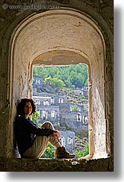 architectural ruins, archways, europe, happy, lori, tourists, turkeys, under, vertical, womens, photograph