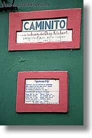 argentina, buenos aires, caminito, la boca, latin america, painted town, signs, vertical, photograph