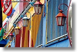 argentina, buenos aires, colored, horizontal, la boca, lamps, latin america, painted town, photograph