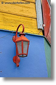 argentina, buenos aires, colored, la boca, lamps, latin america, painted town, vertical, photograph