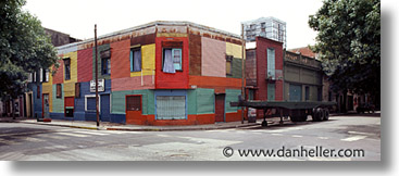 argentina, buenos aires, colorful, corner, horizontal, la boca, latin america, painted town, panoramic, photograph