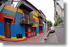argentina, buenos aires, corrugated, fisheye lens, horizontal, la boca, latin america, metal, painted town, photograph