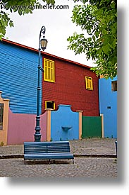 argentina, benches, buenos aires, la boca, lamps, latin america, painted town, vertical, photograph