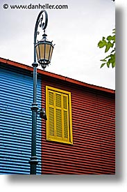 argentina, buenos aires, la boca, lamps, latin america, painted town, vertical, windows, photograph