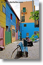 argentina, buenos aires, courtyard, la boca, latin america, painted, painted town, vertical, photograph