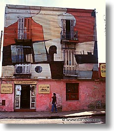 argentina, buenos aires, la boca, latin america, painted town, pink, shops, vertical, photograph