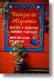 argentina, buenos aires, la boca, latin america, painted town, plants, signs, vertical, photograph