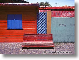argentina, benches, buenos aires, horizontal, la boca, latin america, painted town, red, photograph