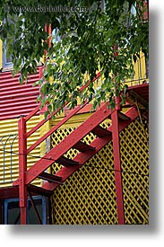 argentina, buenos aires, la boca, latin america, painted town, red, stairs, vertical, photograph