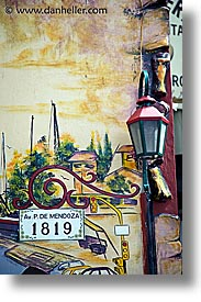 argentina, buenos aires, la boca, lamps, latin america, painted town, streets, vertical, photograph