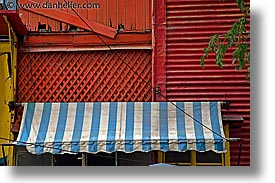 argentina, awnings, blues, buenos aires, horizontal, la boca, latin america, painted town, white, photograph