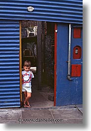 argentina, blues, boys, buenos aires, childrens, doorways, la boca, latin america, people, vertical, photograph