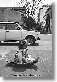 argentina, buenos aires, childrens, girls, la boca, latin america, people, skateboard, vertical, photograph