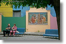 argentina, buenos aires, courtyard, horizontal, la boca, latin america, painted, people, photograph