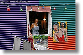 argentina, buenos aires, horizontal, la boca, latin america, painters, people, windows, photograph