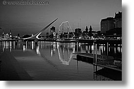 argentina, black and white, bridge, buenos aires, horizontal, latin america, madero, puerto, puerto madero, photograph