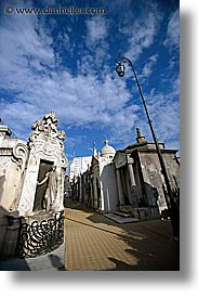 argentina, buenos aires, lampposts, latin america, recoleta cemetery, tall, vertical, photograph