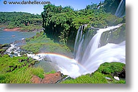 argentina, falls, horizontal, iguazu, latin america, rainbow, slow exposure, water, waterfalls, photograph