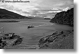 argentina, bay, black and white, boats, horizontal, latin america, tierra del fuego, photograph