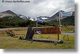 argentina, del, glaciers, horizontal, hotels, latin america, signs, ushuaia, photograph