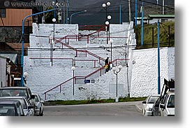 argentina, horizontal, latin america, railed, red, stairs, ushuaia, photograph