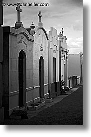 black and white, chile, graveyard, latin america, mosoleums, punta arenas, vertical, photograph