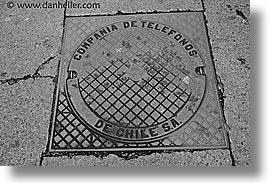 black and white, chile, horizontal, latin america, manholes, punta arenas, photograph