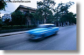 blues, caribbean, cars, cuba, havana, horizontal, island nation, islands, latin america, south america, streaks, photograph