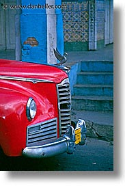 caribbean, cars, cuba, grille, havana, island nation, islands, latin america, red, south america, vertical, photograph