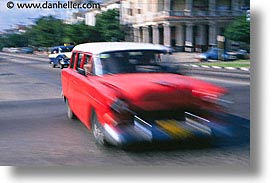 caribbean, cars, cuba, havana, horizontal, island nation, islands, latin america, motion blur, red, south america, speedy, photograph