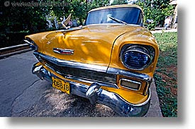 caribbean, cars, chevy, cuba, havana, horizontal, island nation, islands, latin america, south america, yellow, photograph