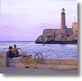 caribbean, cuba, havana, island nation, islands, latin america, lighthouses, malecon, south america, square format, photograph