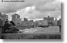 black and white, caribbean, couples, cuba, havana, horizontal, island nation, islands, latin america, malecon, south america, photograph