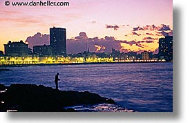 caribbean, cuba, fishing, havana, horizontal, island nation, islands, latin america, malecon, south america, sunsets, photograph