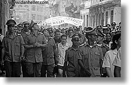 army, black and white, caribbean, cuba, cuban, havana, horizontal, island nation, islands, latin america, parade, south america, photograph