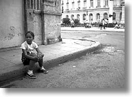 black and white, caribbean, childrens, cuba, havana, horizontal, island nation, islands, latin america, people, round, sittin, south america, photograph