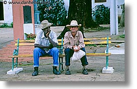 benched, caribbean, cuba, havana, horizontal, island nation, islands, latin america, men, people, south america, photograph