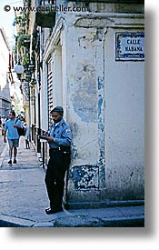 caribbean, cop, cuba, cuban, havana, island nation, islands, latin america, men, people, south america, vertical, photograph