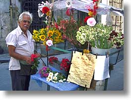 caribbean, cuba, flower cart, flowers, havana, horizontal, island nation, islands, latin america, men, people, south america, vendors, photograph