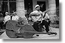 bass, black and white, caribbean, cuba, guitars, havana, horizontal, island nation, islands, latin america, men, people, upright, photograph