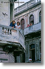 balconies, caribbean, cuba, havana, island nation, islands, latin america, people, south america, vertical, photograph