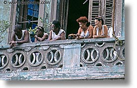 balconies, caribbean, cuba, havana, horizontal, island nation, islands, latin america, people, south america, womens, photograph