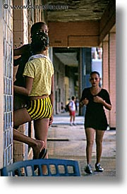 caribbean, cuba, girls, havana, island nation, islands, latin america, people, south america, vertical, walkers, womens, photograph