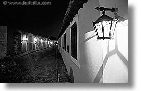 black and white, caribbean, cuba, havana, horizontal, illuminated, island nation, islands, lamps, latin america, south america, streets, photograph