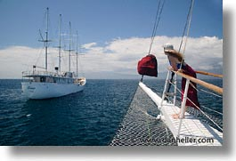 boats, bow, ecuador, equator, from, galapagos, galapagos islands, heritage, horizontal, islands, latin america, ocean, pacific ocean, south pacific, water, photograph