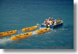 boats, ecuador, equator, galapagos, galapagos islands, horizontal, islands, kayaks, latin america, ocean, pacific ocean, south pacific, water, photograph