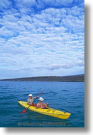 boats, ecuador, equator, galapagos, galapagos islands, islands, kayaks, latin america, ocean, pacific ocean, south pacific, two, vertical, water, photograph