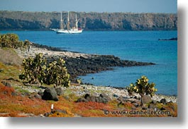 bay, boats, ecuador, equator, faralote, galapagos, galapagos islands, horizontal, islands, latin america, ocean, pacific ocean, sagitta, sails down, south pacific, water, photograph
