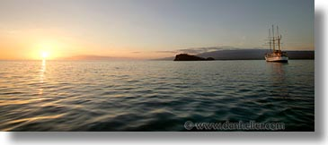 afloat, boats, ecuador, equator, galapagos, galapagos islands, horizontal, islands, latin america, ocean, pacific ocean, panoramic, sagitta, sails down, south pacific, water, photograph